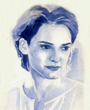 Winona Ryder's movie still from Age of Innocence in monochromatic watercolour.