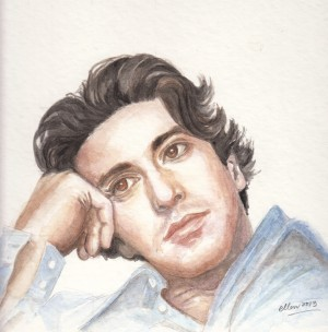 A black & white magazine photo of a younger Al Pacino in one of the episodes of The Godfather.  Done using watercolours.