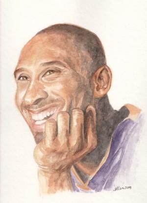"Kobe Bryant . Original watercolour art on 8"" x 10"" cold-pressed paper."